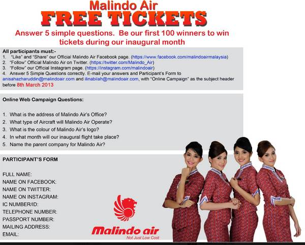 Malindo Air Free Tickets Contest
